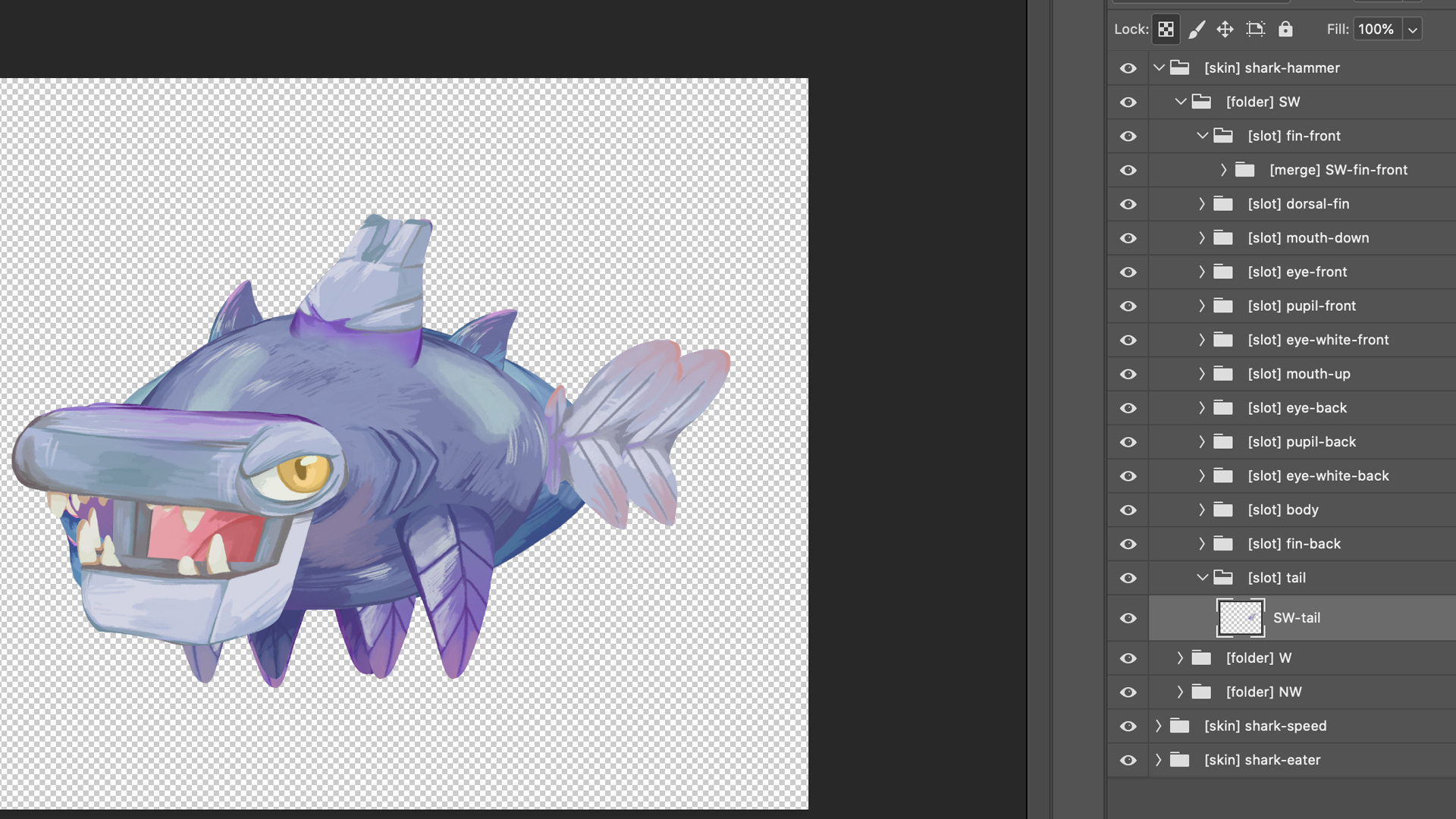 Shark PSD file for Spine